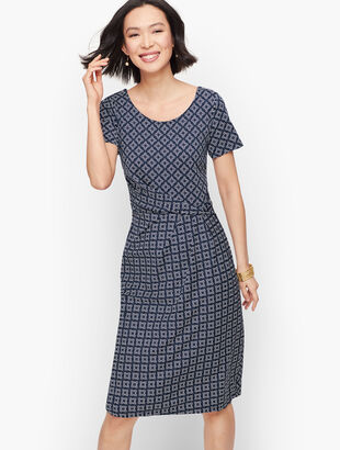 Knit Jersey Draped Sheath Dress