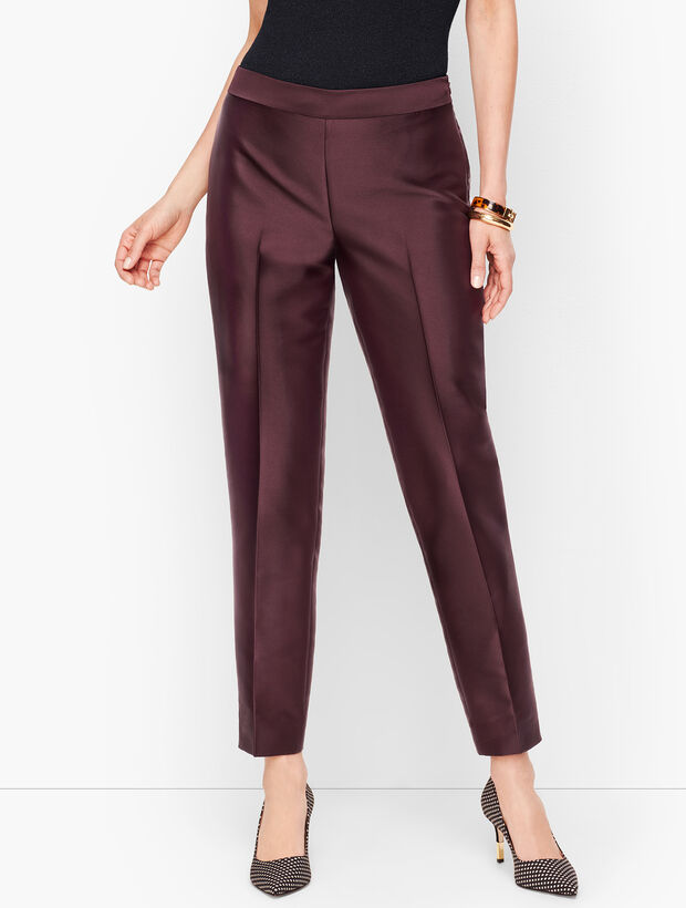 Silk Gazar Tailored Ankle Pants