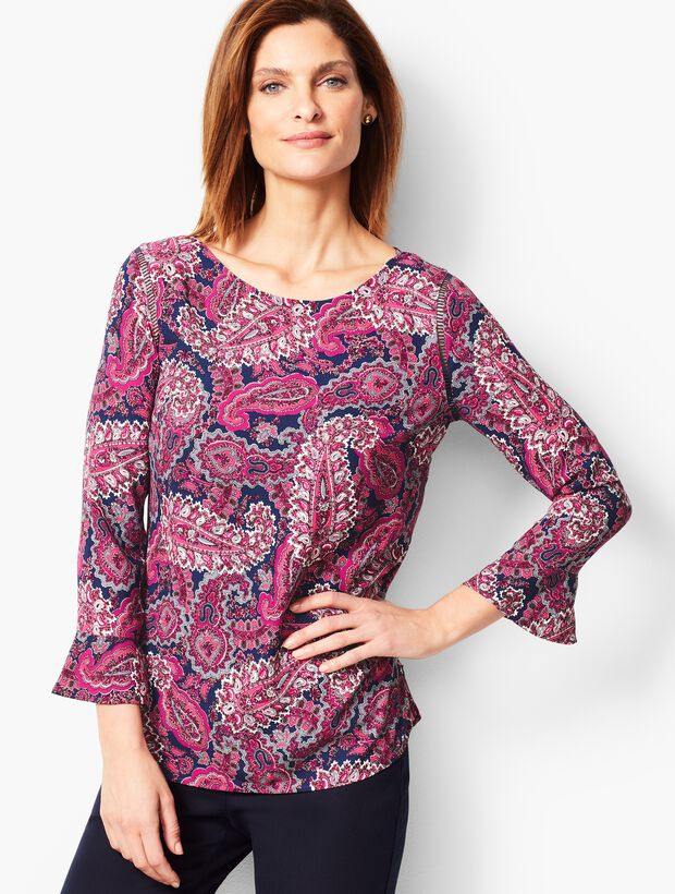 Traditional Paisley Three-Quarter Peplum Sleeve Classic Crepe Popover
