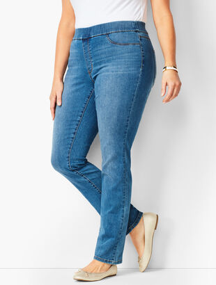 Plus Size Pull-On Straight Leg Jeans - Aurora Wash