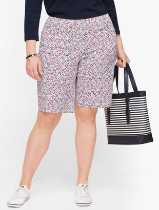 Perfect Shorts - Bermuda Length - Geranium Print