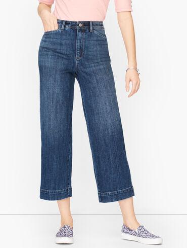 Wide Leg Crop Jeans - Fleet Wash - Curvy Fit