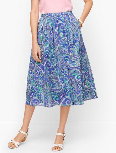 Pleated Midi Skirt - Paisley