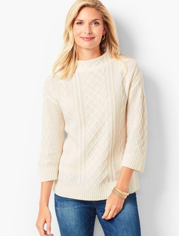Cashmere Cable Mockneck Sweater