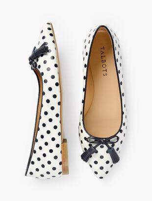 Poppy Bow Flats - Dot Print