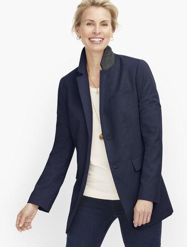Long Wool Blend Blazer - Brushed Wool