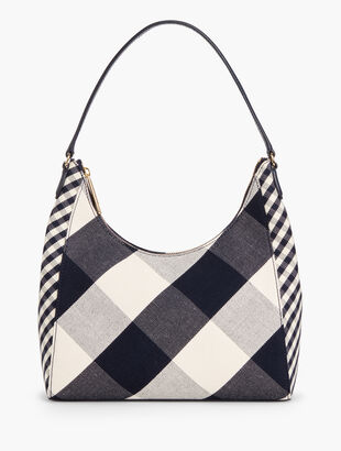 Gingham Hobo Shoulder Bag