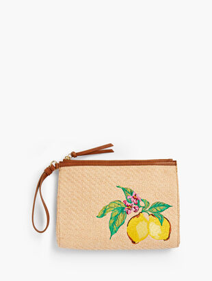 Embroidered Paper Straw Wristlet