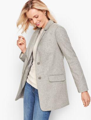 Brushed Italian Wool Long Blazer