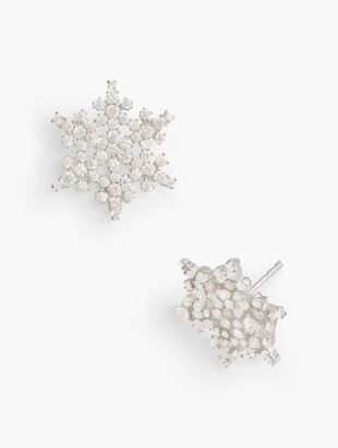 Sterling Silver Crystal Snowflake Earrings