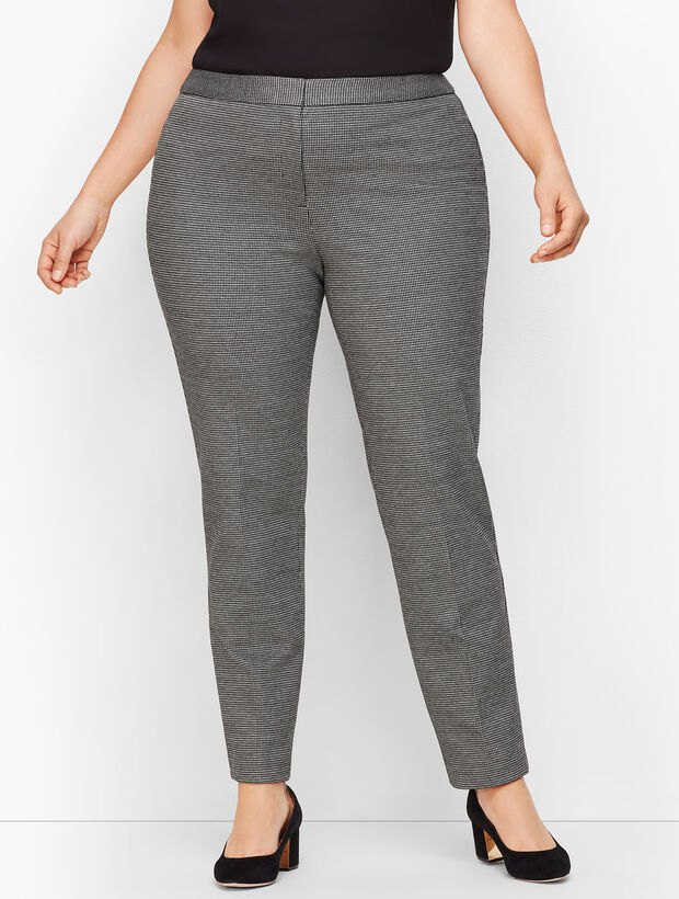 Plus Size Luxe Knit Slim Ankle Pants - Houndstooth