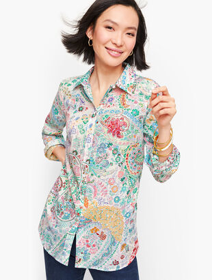 Classic Cotton Shirt - Festive Floral Paisley