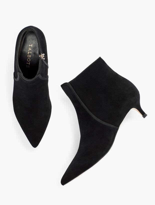 Iona Binding Kitten-Heel Ankle Boots - Suede