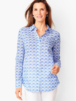 Classic Cotton Shirt - Wave Print
