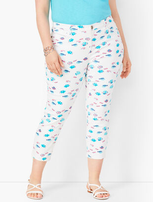 Denim Jegging Crops - Fish Print