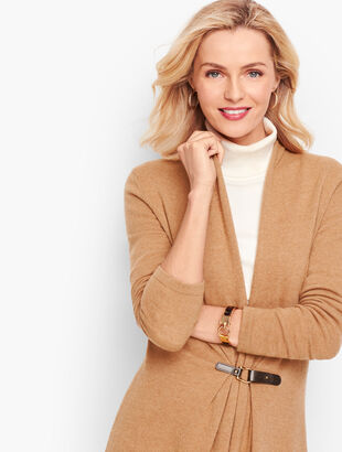 Leather Buckle Flyaway Sweater