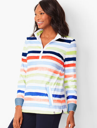 Half-Zip Painterly-Stripe Pullover