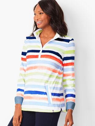 Half-Zip Painterly-Stripe Pullover