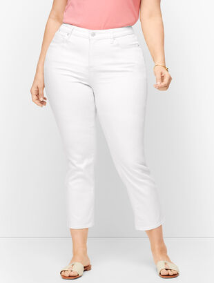 Plus Size Straight Leg Crop Jeans - Curvy Fit - Vanilla & White