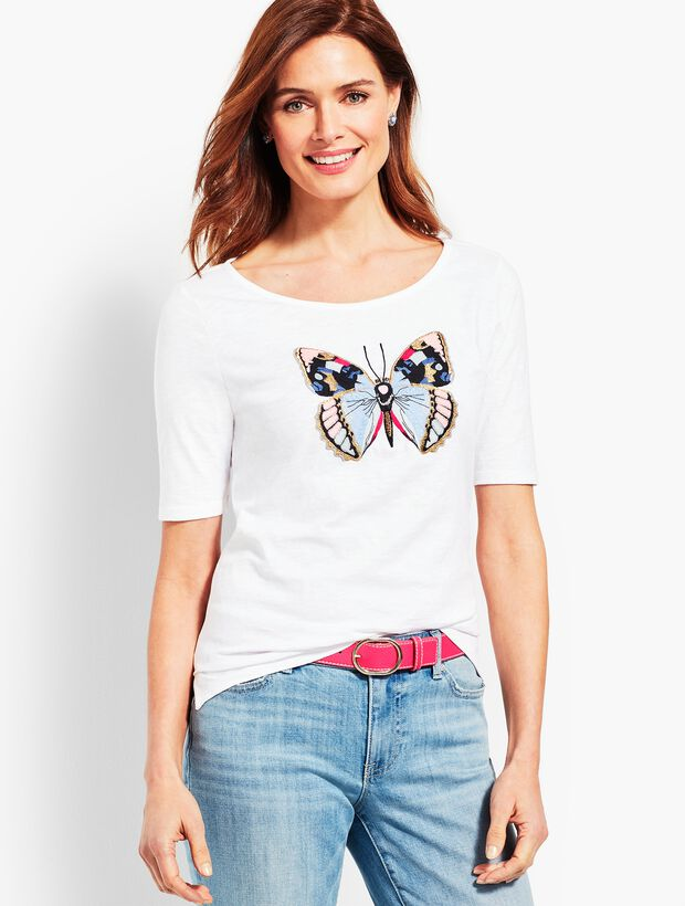 Embellished Butterfly Boatneck Tee
