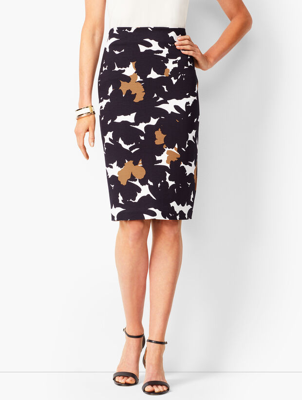 Refined Ponte Pencil Skirt - Floral