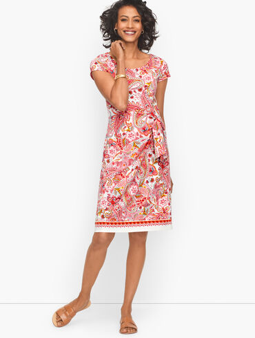 Side Tie Jersey Shift Dress - Spiced Paisley