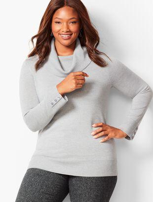 Merino Button-Cuff Cowlneck Sweater - Shimmer