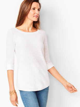 Textured Cotton Button-Tab Sweater