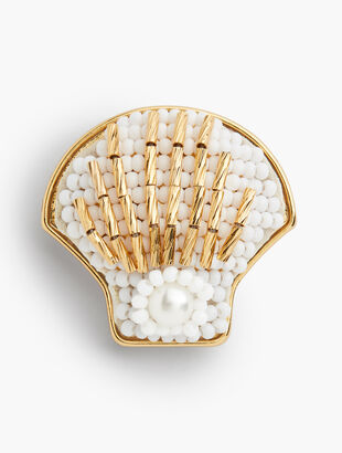 Beaded Shell Brooch