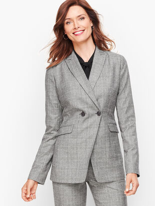 Luxe Knit Plaid Double Breasted Blazer