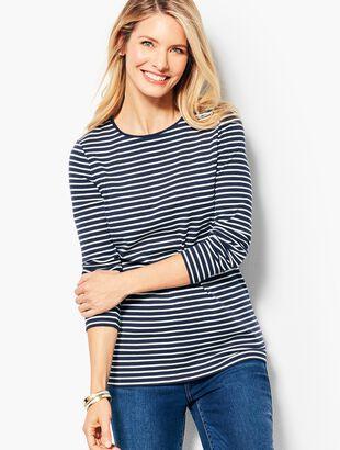 Long-Sleeve Cotton Crewneck - Stripe
