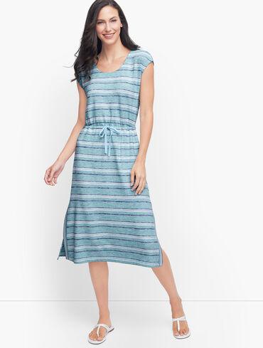 Drawstring Tie Waist Midi Dress