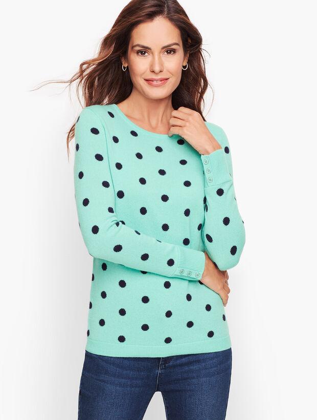 Cashmere Button Cuff Sweater - Dot