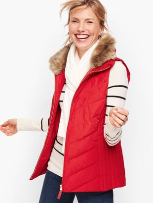 Faux Fur Collar Down Puffer Vest - Solid
