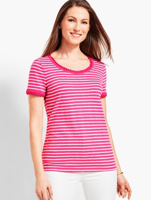 Crochet-Trim Stripe Scoop-Neck Tee