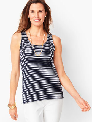 Pima Cotton-Blend Tank - San Michele Stripe