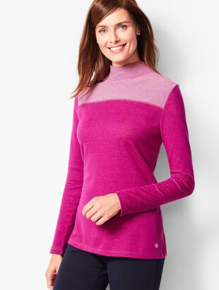 Cotton Stripe-Yoke Mockneck