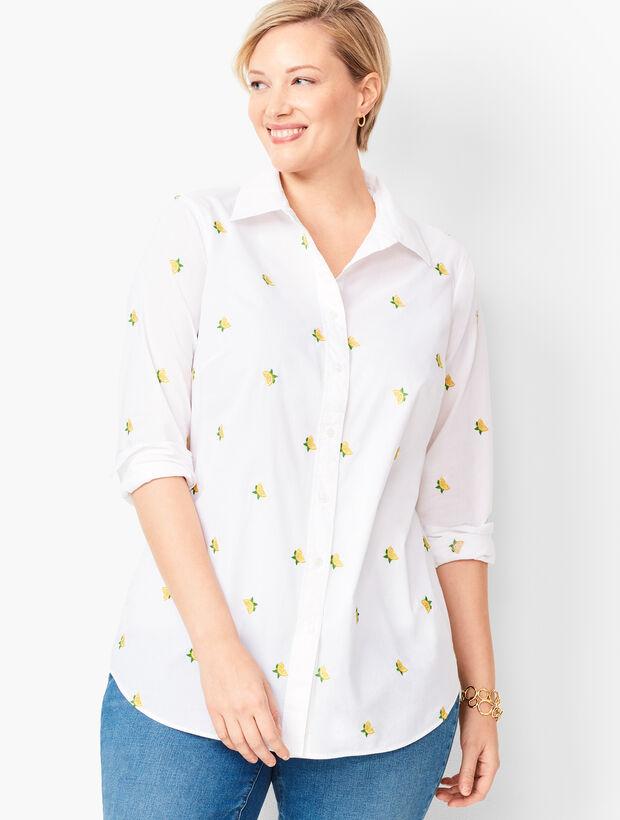 Classic Cotton Shirt - Embroidered Lemons