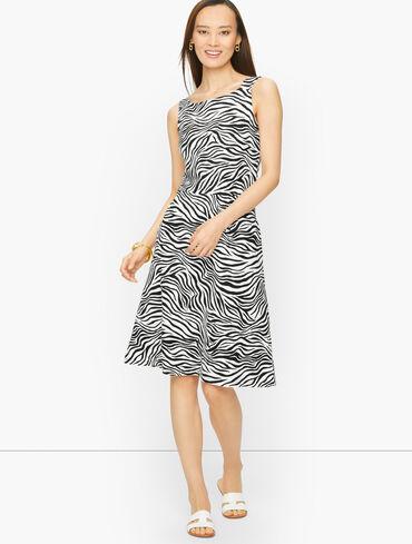 Jersey Fit & Flare Dress - Allover Zebra