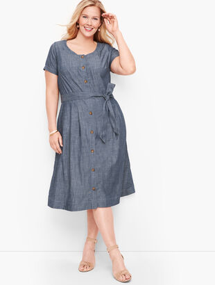 Denim Button Front Fit & Flare Dress