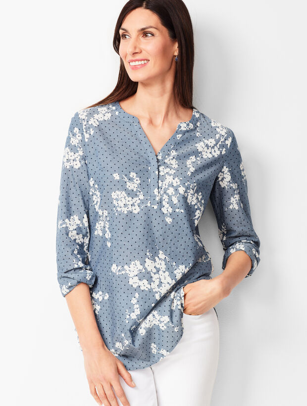 Floral Dot Chambray Top