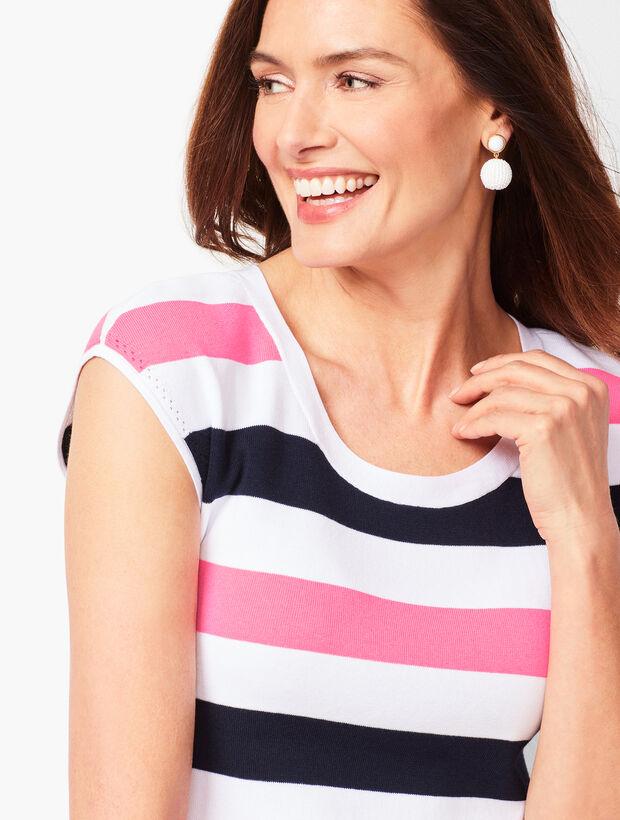 Cap-Sleeve Sweater - Wide Stripe
