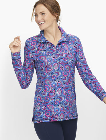 Paisley Button Placket Pullover
