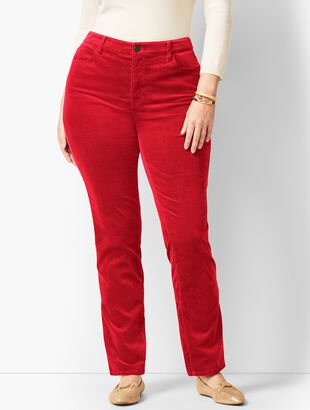 High-Rise Straight-Leg Velveteen Pant - Solid