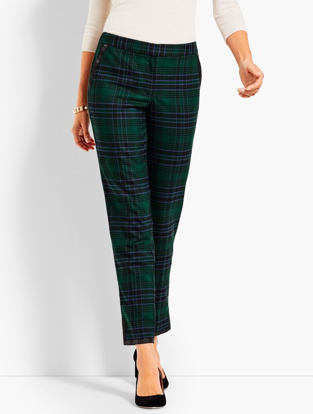 Black Watch Plaid Straight Ankle Pant