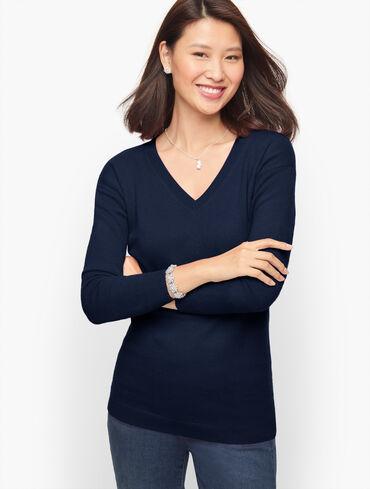 Cashmere Drop Shoulder V-Neck Sweater