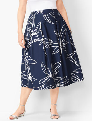 Floral Pleated Full Skirt