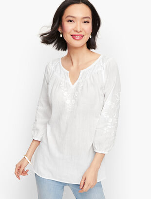 Flower Embroidered Gauze Top