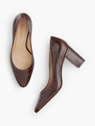 Kelsey Block-Heel Pumps - Chocolate Embossed Leather