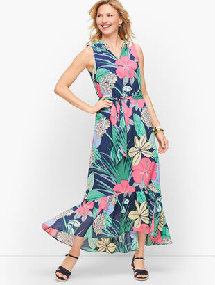 Voile Hibiscus Maxi Dress